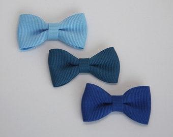 Solid color grosgrain ribbon bow hair clip/ Blues/ Pigtails/ Non-slip hair clip/ Newborn hair bow/ Baby/ Infant hair clip/ Handmade