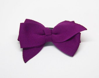 Purples- Medium Size Boutique bow w/ Knotted Middle ribbon hair clip/ Non-slip hair clip/ Newborn hair bow/ Baby hairclip/ Infant hai