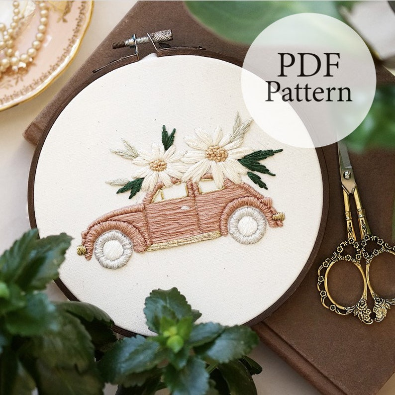 PDF Pattern Blush Beetle Step By Step Beginner Embroidery Pattern With YouTube Tutorials