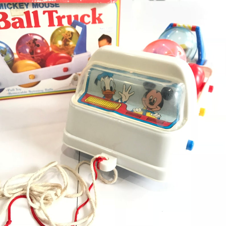 2d78e68c647 Vintage 80s Disney Mickey Mouse Roll a Ball Truck Baby Toy