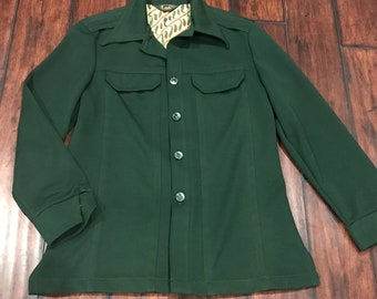 Vintage 60s 70s Lee Leisure Jacket Mens L Green Paisley Polyester Button Down Coat Wolf Buttons Unlined Blazer Union Made USA Mens Man Gift