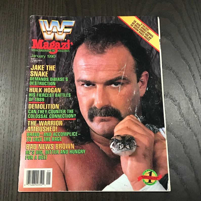 Vintage WWF Magazine January 1990 Jake the Snake Wrestling Hulk Hogan Retro  Sports Game Ads 90s Mens Man Cave Gift Wrestlemania Book
