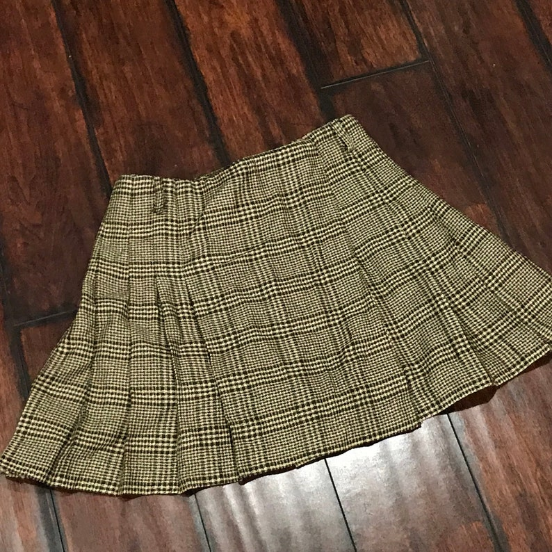 c42d696553 Vintage 80s 90s Plaid Mini Skirt Womens Size 3 Pleated Brown | Etsy
