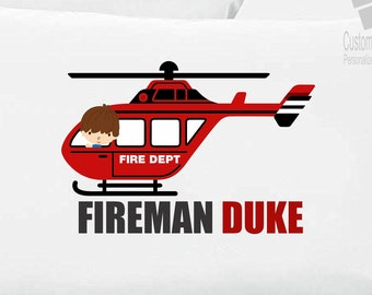 Little Fire Truck Boy Pillowcase Custom
