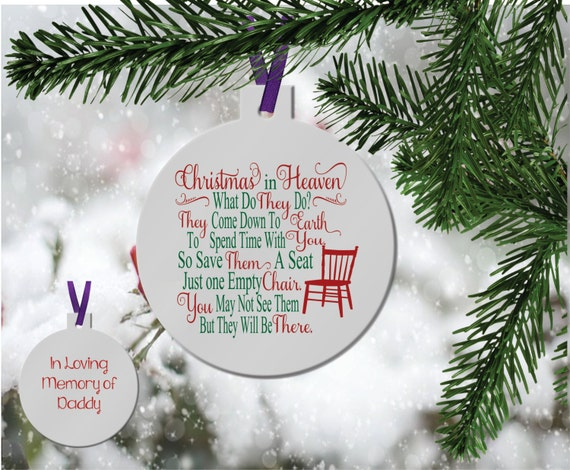 Christmas In Heaven Ornament.Personalized In Memory Ornament Christmas In Heaven Memorial Gift Remembrance Gift