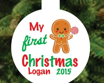 Personalized Babies First Christmas Ornament - Babies 1st Christmas Gingerbread Christmas Ornament Personalized with Name & Year