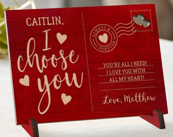 Valentine/'s Day Postcard Valentine/'s Gifts for Women --LPC-W-ANDREWBAILEY Personalized Wood Postcard Love Postcard Valentine/'s Gifts