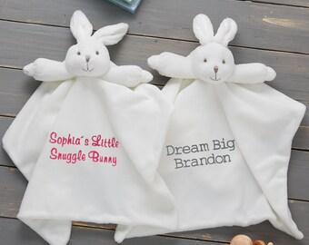 Soft Fleece InfantToddler Mini Blanket with Appliqued Bunny Rabbit