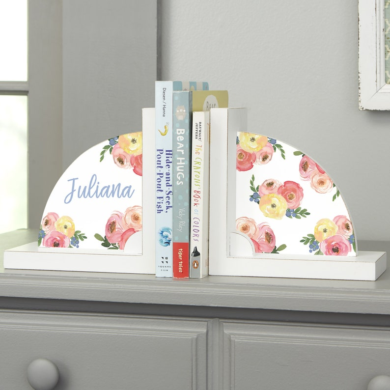Floral Personalized Bookends Gifts for Home Gifts for Kids