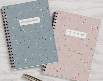 Terrazzo Pattern Personalized Journals Set of 2, Gifts for Her, Office Gifts