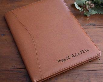 Executive Tan Leather Personalized Portfolio, Custom Portfolio, Portfolio, Leather Portfolio, Leather, Professional, Executive Portfolio
