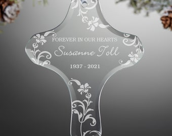 Personalized Memorial Cross Ornament, Memorial Gifts, Sympathy Gifts