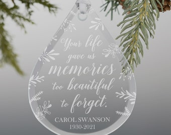 Memorial Teardrop Engraved Glass Ornament, Memorial Gifts, Personalized Memorial Ornaments, Custom Sympathy Gifts