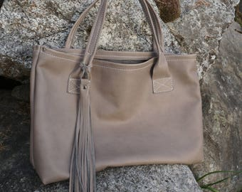 Soft Grey Leather Tote Bag, Classic Leather shoulder bag with large tassel