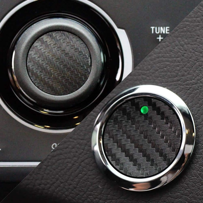 2013-2019 Ford Fusion Carbon Fiber Push Start & Volume Button Inserts  (Black)