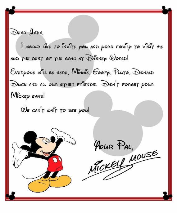 Custom Disney World Letter From Mickey Invitation To Disney Etsy