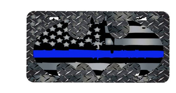 Thin Blue Line SHERIFF License Plate POLICE CAR Tag METAL 6x12 Cop