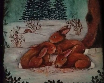 Painting of Bunnies on metal with metal frame . Pamela Kenyon