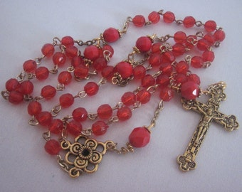Economical Gold Tone Faceted Red Acrylic, 5, Five Decade Rosary, Religious Gift, Catholic, Spiritual, Rosary, Prayer Beads