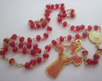 Red Gold Glass, Confirmation, 5, Five Decade Rosary, Religious Gift, Catholic, Spiritual, Rosary, Prayer Beads