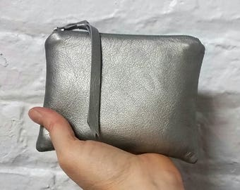 e1d55f7e902d6 Matte silver leather coin purse   leather coin purse   leather pouches    bags and purses   small leather goods   leather bags