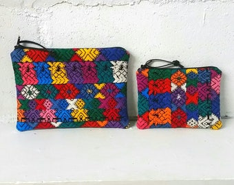 Guatemalan textile coin purse  / limited edition / recycled fabric / vintage ethnic fabric bag / boho chic / coinpurse