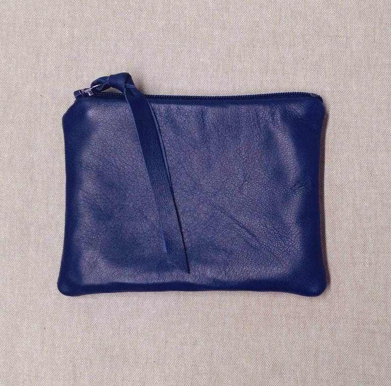 blue leather zipper pouch medium or small royal blue leather coin purse Buttery soft lambskin sapphire leather pouch pouches