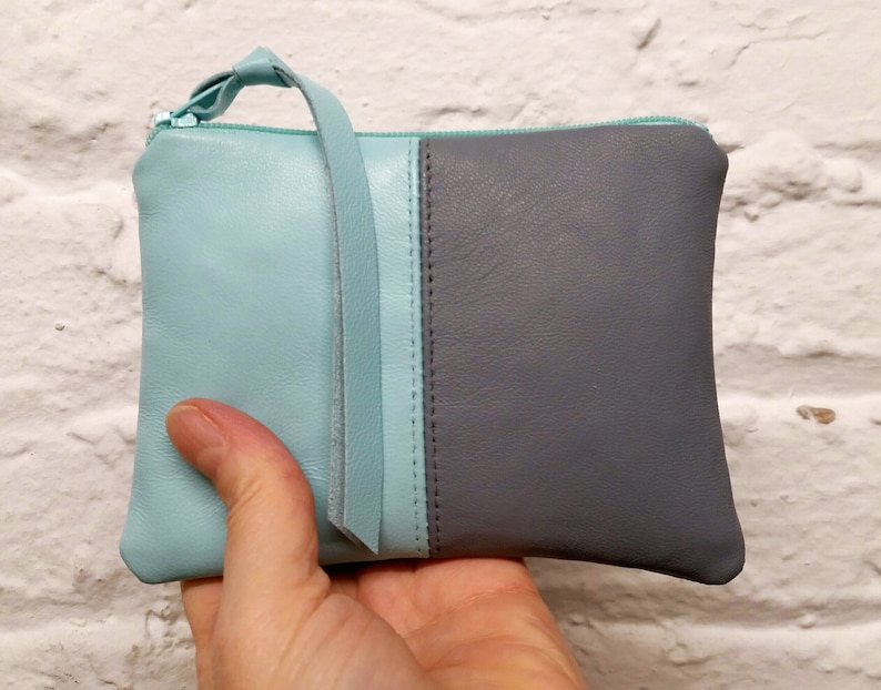pouches leather zipper purse makeup bag coin purse Aqua and gray colorblocked lambskin pouch in size small or med