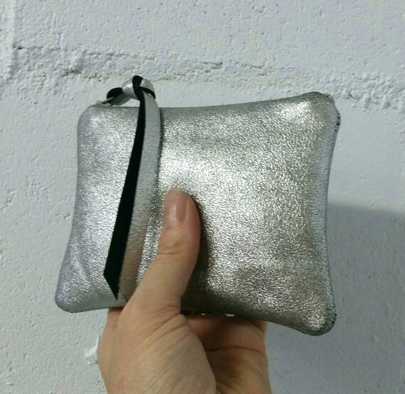 23ee4ee03 Bright silver leather zipper pouch size small coin purse | Etsy