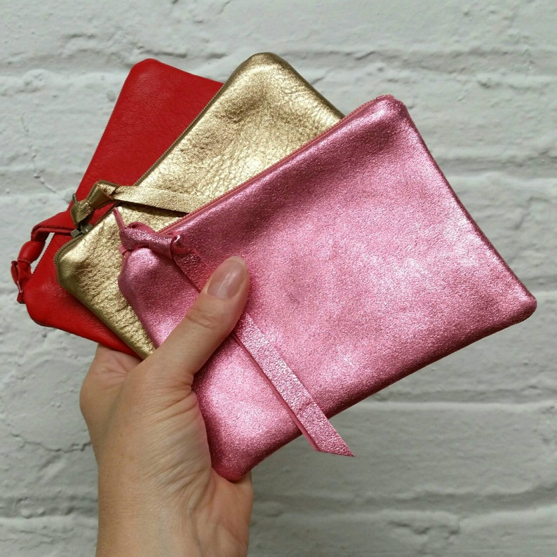 ready to ship Medium leather pouches in pink red and gold
