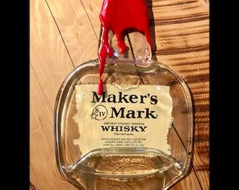 Makers Mark - Melted Whiskey Bottle Glass Serving Dish Platter