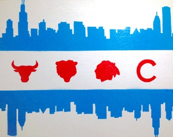 Chicago flag skyline - sports painting