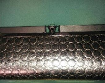 Kate Landry Lamé Frame Metallic Silver Clutch with Jewel closing