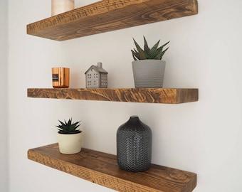 Rustic Floating Shelves | Chunky Wood Shelf | Mantel Timber Pine