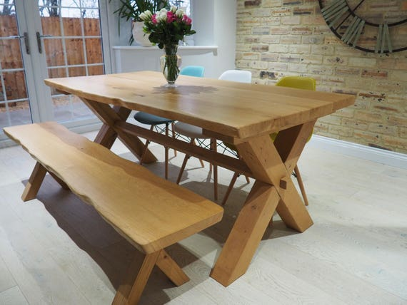 Excellent Solid Oak Cross Leg Dining Table With Matching Bench Handmade In North Yorkshire Squirreltailoven Fun Painted Chair Ideas Images Squirreltailovenorg