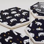 Game Controllers Hexagon Coaster | Single Coaster | Housewarming Gift | Gamer Ceramic Tile Coaster | Video Game Decor | Geekery Home Decor