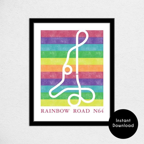 Mario Kart 64 Rainbow Road Track Map Poster Super Mario Kart Map Print Video Game World Map Art Digital Download