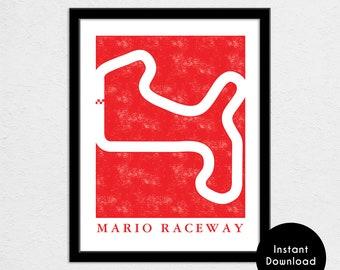 "Mario Raceway Track Map Poster   11"" x 14"" 300 DPI Image File   Kart Track Map Print   Video Game World Map Art   Digital Download"