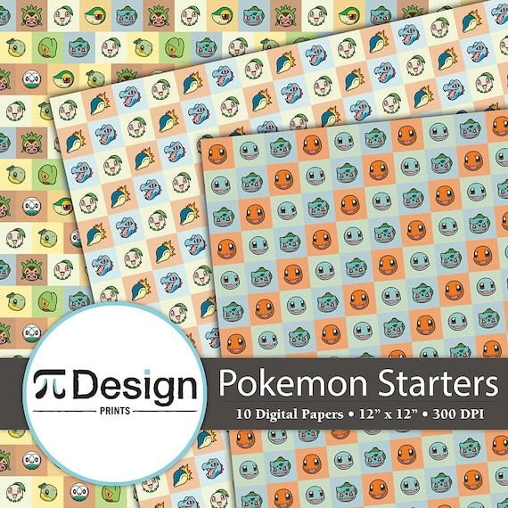 fire water and grass starter pokemon 12x12 digital | etsy