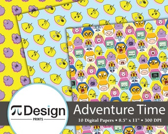 """8.5""""x11"""" Adventure Boy & Dog Digital Paper - 10 Pack   Instant Download   Cartoon Character Patterns   Digital Designs for DIY Projects"""