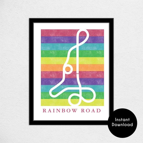 Mario Kart 64 Rainbow Road Track Map Poster Super Mario Kart Etsy