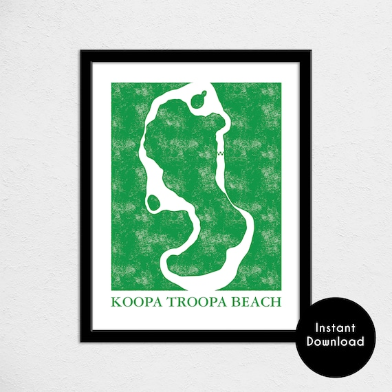 Mario Kart 64 Koopa Troopa Beach Track Map Poster Super Mario Kart Map Print Video Game World Map Art Digital Download