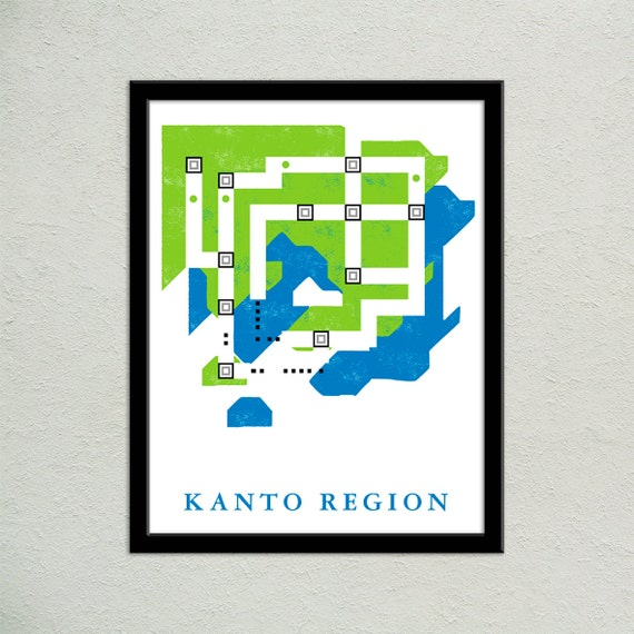 Kanto Region World Map Print Pokemon World Map Video Game | Etsy