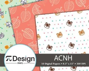 "8.5""x11"" New Horizons Digital Paper Pack of 10   Video Game   Kawaii Pattern   Video Game Digital Paper"
