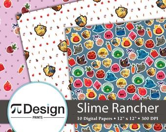 "12""x12"" Slime Rancher Digital Paper 10 Pack   Instant Download   RPG Monsters   Pink Slimes   Video Game DIY Crafts   Chickadoo   Plort"