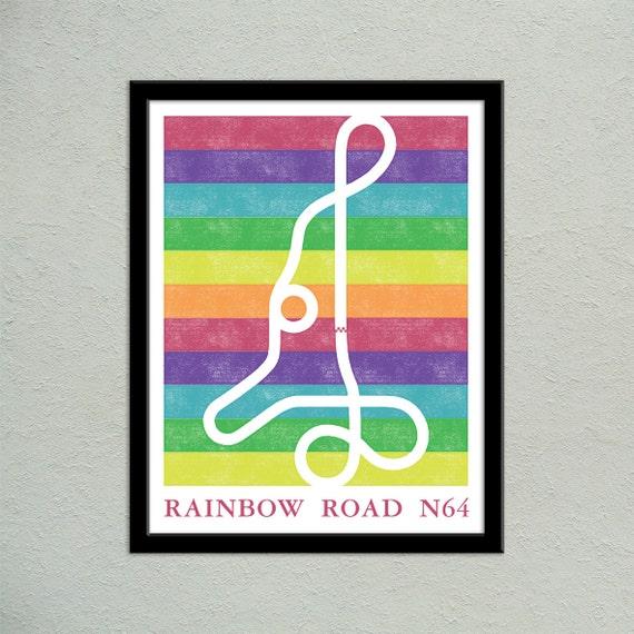 Mario kart 64 rainbow road track map poster super mario kart etsy image 0 gumiabroncs Gallery