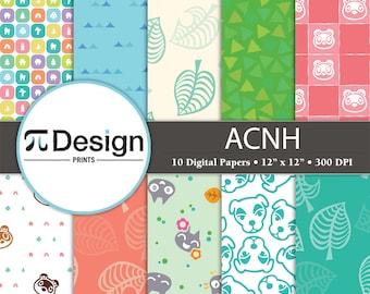 "12""x12"" New Horizons Digital Paper Pack of 10    Kawaii Patterns   Cute Video Game Digital Download"