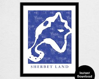 """Sherbet Land Track Map Poster   11"""" x 14"""" 300 DPI Image File   Kart Track Map Print   Video Game World Map Art   Digital Download"""