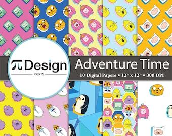 "12""x12"" Adventure Boy & Dog Digital Paper 10 Pack   Digital Download   Cartoon Seamless Pattern   Kids Show   Pop Culture"