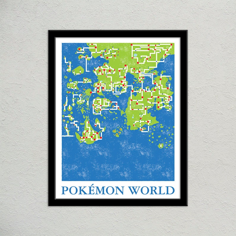 Pokemon World Map Print Pokemon Travel Poster Geek Gift | Etsy